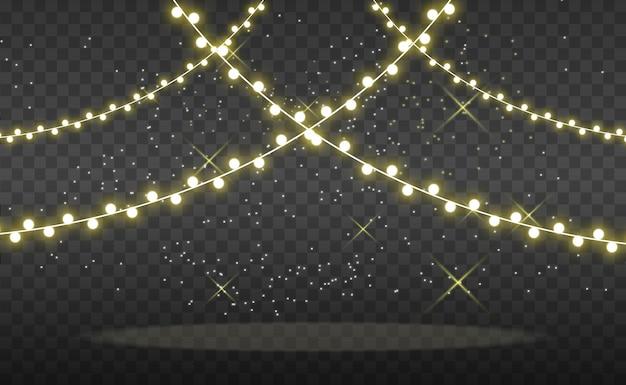 Navidad brillante, hermosas luces, elementos de diseño. luces brillantes para el diseño de tarjetas de felicitación de navidad. guirnaldas, ligeras decoraciones navideñas.