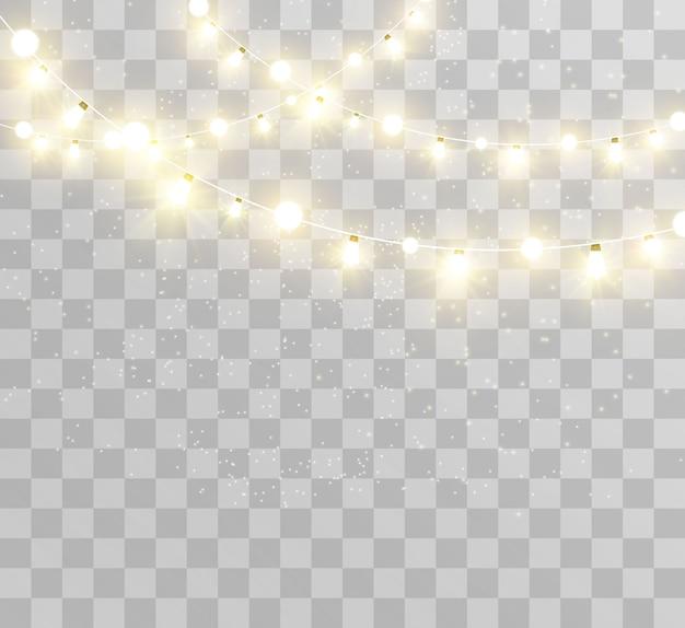 Navidad brillante, hermosas luces, elementos. luces brillantes para el diseño de tarjetas de felicitación de navidad. guirnaldas, ligeras decoraciones navideñas.