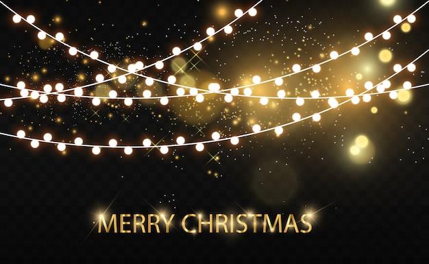 Navidad brillante, hermosas luces, elementos. luces brillantes para tarjetas de felicitación de navidad. guirnaldas, ligeras decoraciones navideñas.