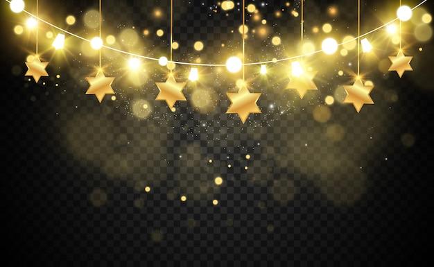 Navidad brillante, hermosas luces, s. luces brillantes para el diseño de tarjetas de felicitación de navidad. guirnaldas, decoraciones navideñas ligeras.