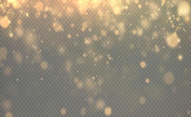 Navidad brillante luz dorada bokeh confeti y chispa superposición textura dorada para su diseño