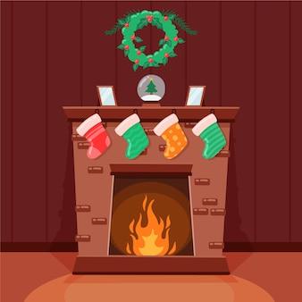 Navidad chimenea escena dibujada a mano