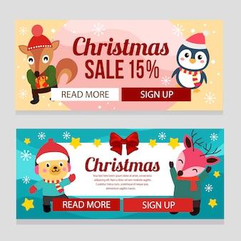 Navidad colorida con vacaciones ardilla pingüino perro ciervo