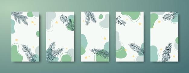 Navidad, conjunto de plantillas de historias editables de moda de año nuevo. formas abstractas y ramas de abeto de pino para fondos de redes sociales. colección de tarjetas de felicitación o pancartas navideñas de redes sociales