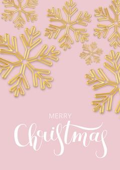 Navidad con copo de nieve de oro sobre rosa.