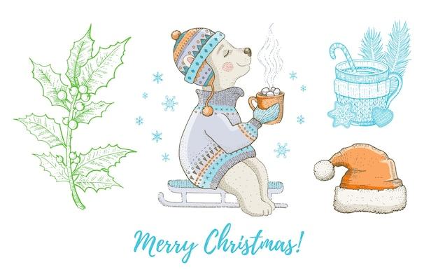 Navidad doodle animal oso polar, sombrero de santa, conjunto de acebo. linda colección de dibujo a mano acuarela. cartel, tarjeta de felicitación, elemento de diseño.