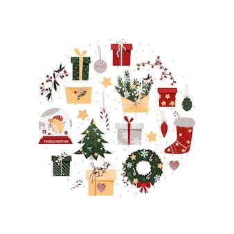 Navidad establece elementos en una composición circular