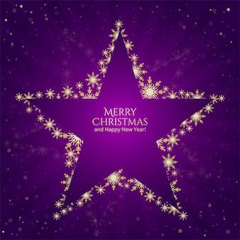 Navidad estrellas copos de nieve sobre fondo morado