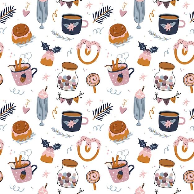 Navidad y feliz año nuevo alegre de patrones sin fisuras. hermosa ilustración de invierno con elementos tradicionales lindos y de carácter en estilo escandinavo. vector. buen diseño de tela y papel de regalo.