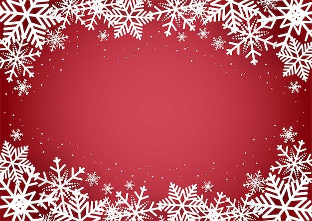 Navidad y feliz año nuevo fondo rojo con copo de nieve