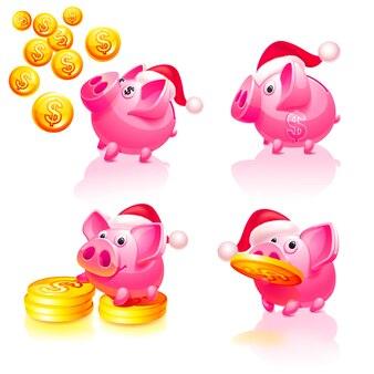 Navidad y feliz año nuevo hucha con monedas