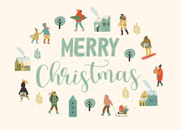 Navidad y feliz año nuevo ilustración pizca personas.