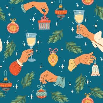 Navidad y feliz año nuevo de patrones sin fisuras. estilo retro de moda.