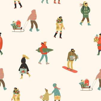 Navidad y feliz año nuevo de patrones sin fisuras pizca personas.