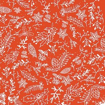 Navidad floral dibujado a mano de patrones sin fisuras