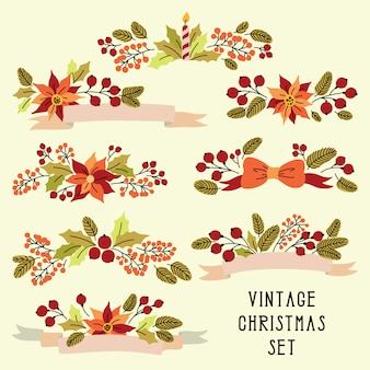 Navidad con flores vintage
