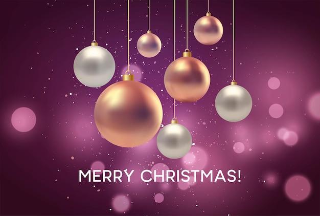 Navidad fondo rosa borroso con adorno. ilustración de vector eps10