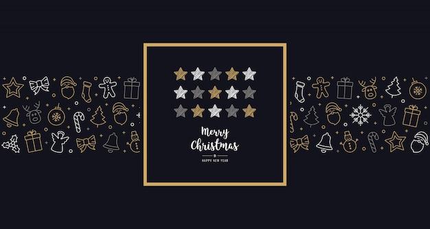Navidad garabato estrellas tarjeta icono elementos texto saludo marco fondo azul dorado
