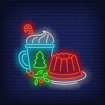 Navidad gelatina y bebida letrero de neón