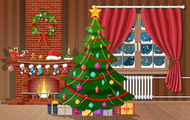 Navidad interior de habitación