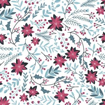 Navidad invierno floral de patrones sin fisuras.