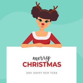 Navidad linda chica con disfraz de reno - ayudante de santa