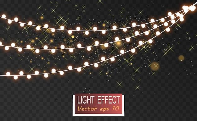 Navidad luces brillantes, hermosas, elementos de diseño. luces brillantes para el diseño de tarjetas de felicitación de navidad. guirnaldas, adornos navideños ligeros.