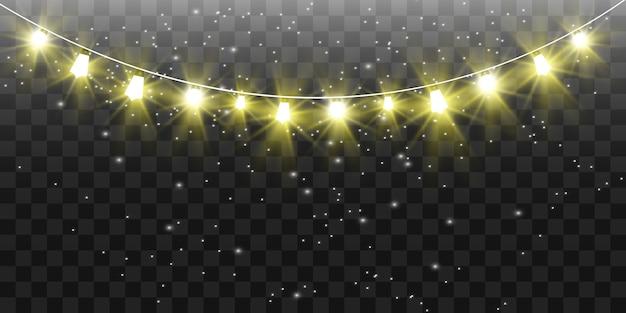 Navidad luces brillantes, hermosas, elementos. luces brillantes para el diseño de tarjetas de felicitación de navidad. guirnaldas, adornos navideños ligeros.