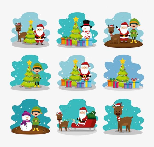 Navidad con muñeco de nieve y conjunto de personajes