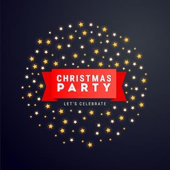 Navidad o año nuevo cartel o banner con cintas rojas, texto y estrellas.
