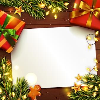 Navidad o año nuevo con papel en blanco.