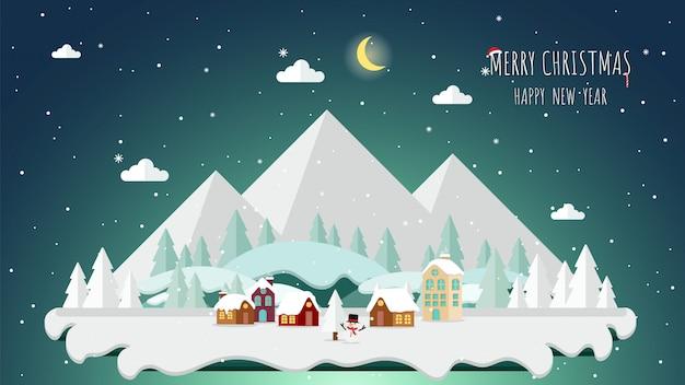 Navidad y paisaje de fondo