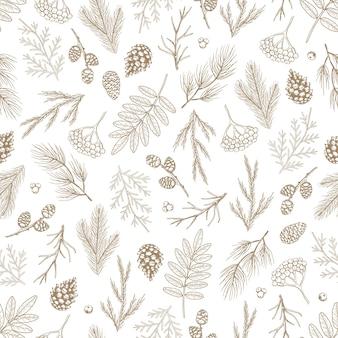 Navidad de patrones sin fisuras con adornos para árboles de navidad, ramas de pino dibujado a mano ilustración de diseño de arte.