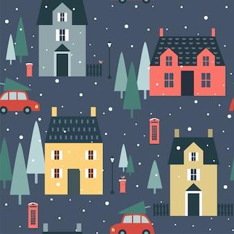 Navidad de patrones sin fisuras con casas inglesas, árboles, coches,