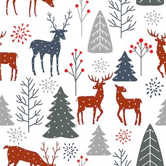 Navidad de patrones sin fisuras con ciervos y árboles.