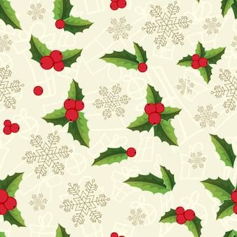 Navidad de patrones sin fisuras con copos de nieve y hojas de muérdago brillantes