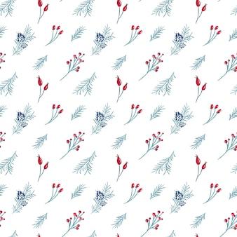 Navidad de patrones sin fisuras de frutos rojos, rama de pino