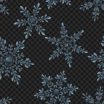 Navidad de patrones sin fisuras de grandes copos de nieve translúcidos complejos en colores azul claro sobre fondo transparente. transparencia solo en formato vectorial