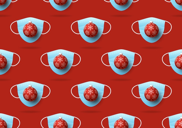 Navidad de patrones sin fisuras de mascarillas médicas y bola de navidad
