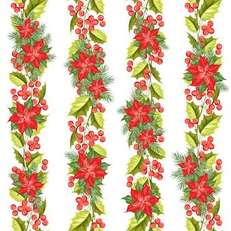 Navidad de patrones sin fisuras. muérdago sobre fondo blanco.