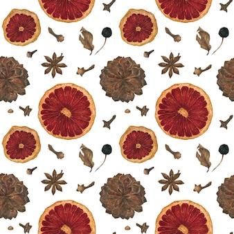 Navidad de patrones sin fisuras con naranjas, especias y conos