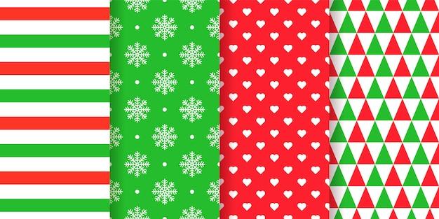 Navidad de patrones sin fisuras. navidad, fondo de año nuevo. . textura de vacaciones. establecer estampados textiles geométricos abstractos festivos con rayas, copos de nieve, corazones, triángulos. ilustración verde rojo