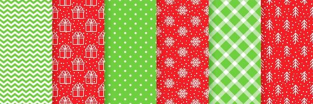Navidad de patrones sin fisuras. navidad, impresión de año nuevo. establecer texturas rojo verde. papel de regalo festivo.