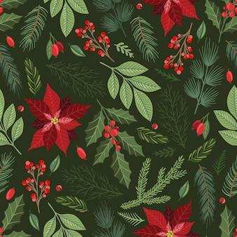 Navidad de patrones sin fisuras. ramitas de pino, frutos rojos, copos de nieve. temporada de felicitación de papel digital. vacaciones de navidad de invierno