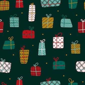 Navidad de patrones sin fisuras con regalos dibujados