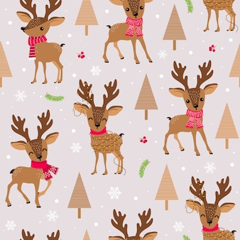 Navidad de patrones sin fisuras con renos
