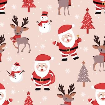 Navidad de patrones sin fisuras con santa y renos