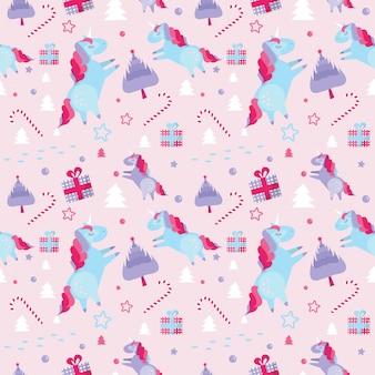 Navidad de patrones sin fisuras con unicornios