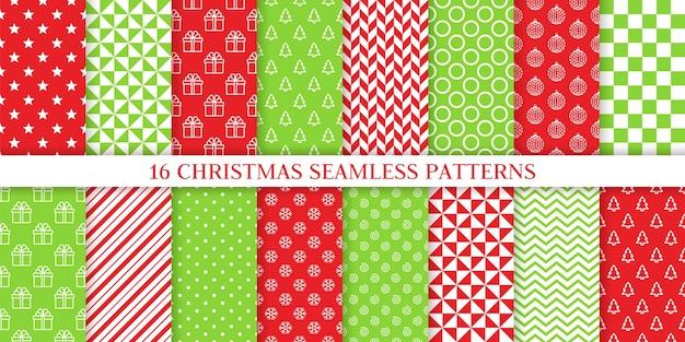 Navidad de patrones sin fisuras. vector. navidad, impresión de año nuevo. establecer texturas. papel de regalo festivo