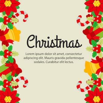 Navidad plana deja estilo plano lindo borde